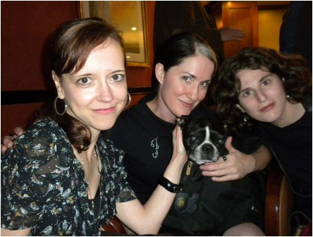 Megan with Christa Faust (and Butch) and Sarah Weinman