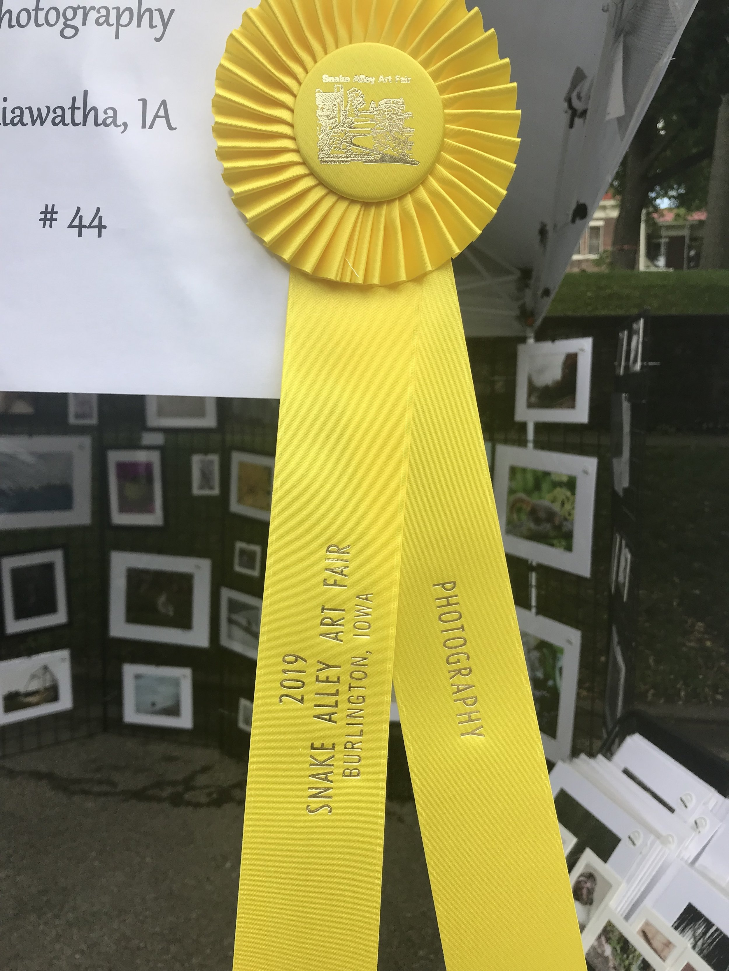 2019 3rd place photography award at snake alley art festival