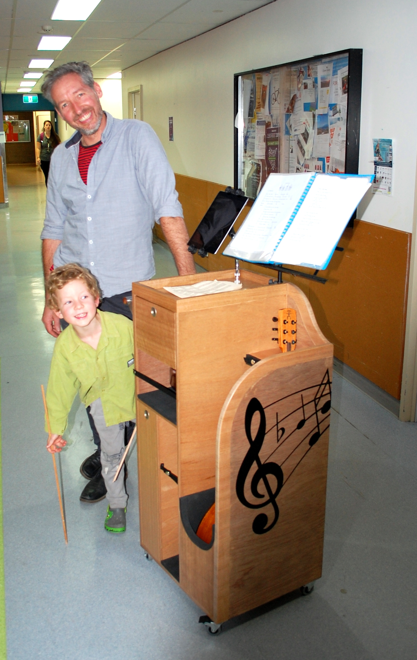 Nick and Bo with music trolley.jpg