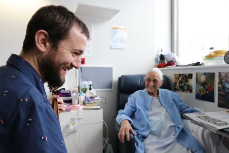 Pictured is Inscape musician, Will Parsell with Marion Hayes, who both featured recently in an ABC feature about Inscape  https://www.abc.net.au/news/2019-05-05/art-therapy-trial-helping-hospital-patients/11077120
