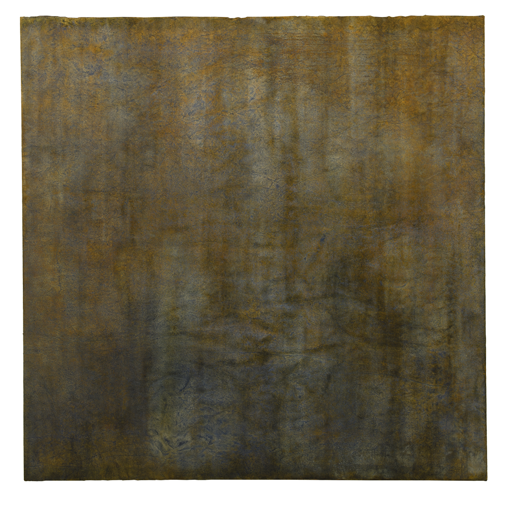 Untitled,  oil, ochre pigments, indigo, sea water on mulberry paper on canvas, 3'x3'