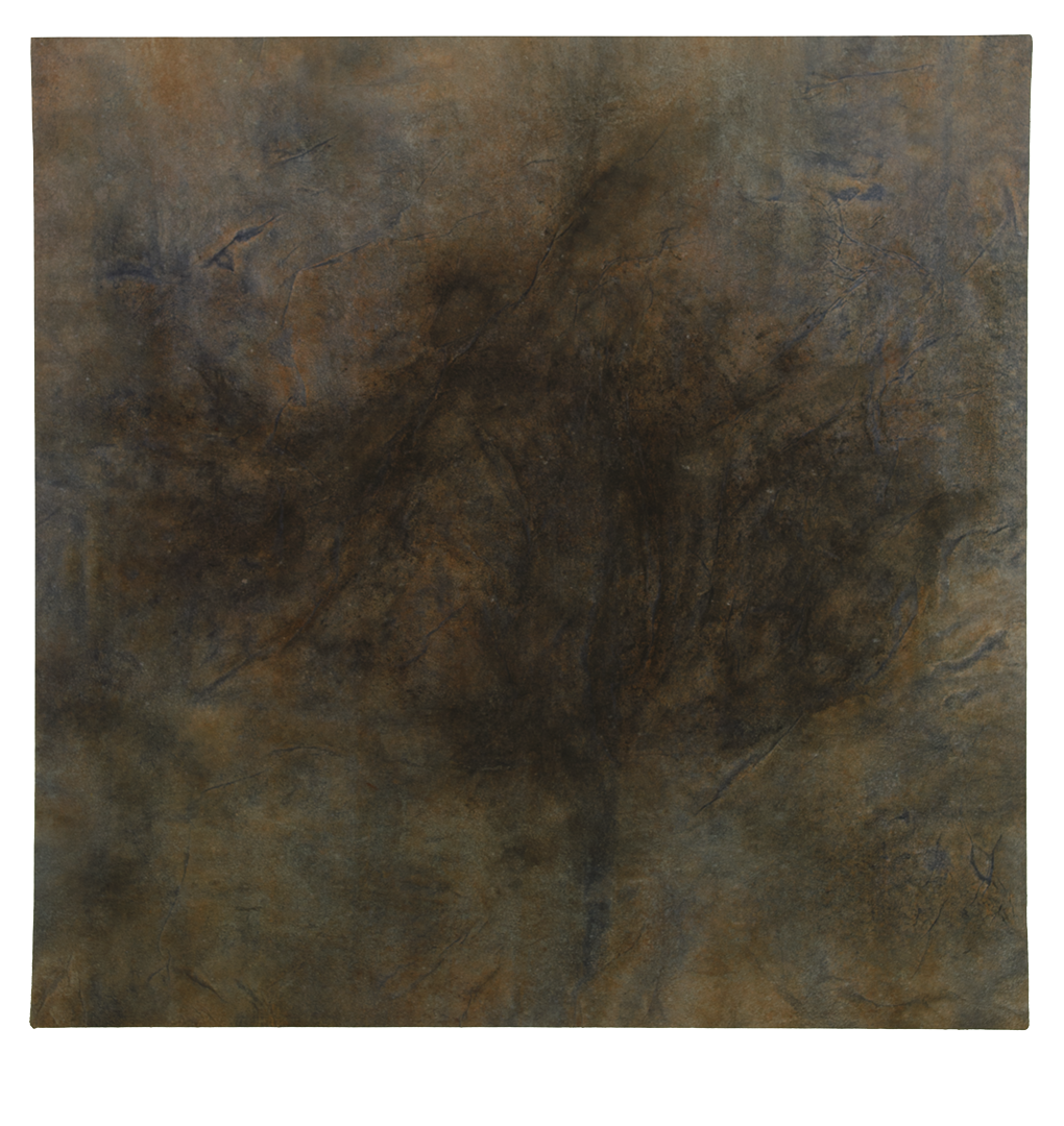 Untitled,       soil, charcoal, ochre pigment, dragon's blood, copper oxide, indigo, sea water on mulberry paper on canvas