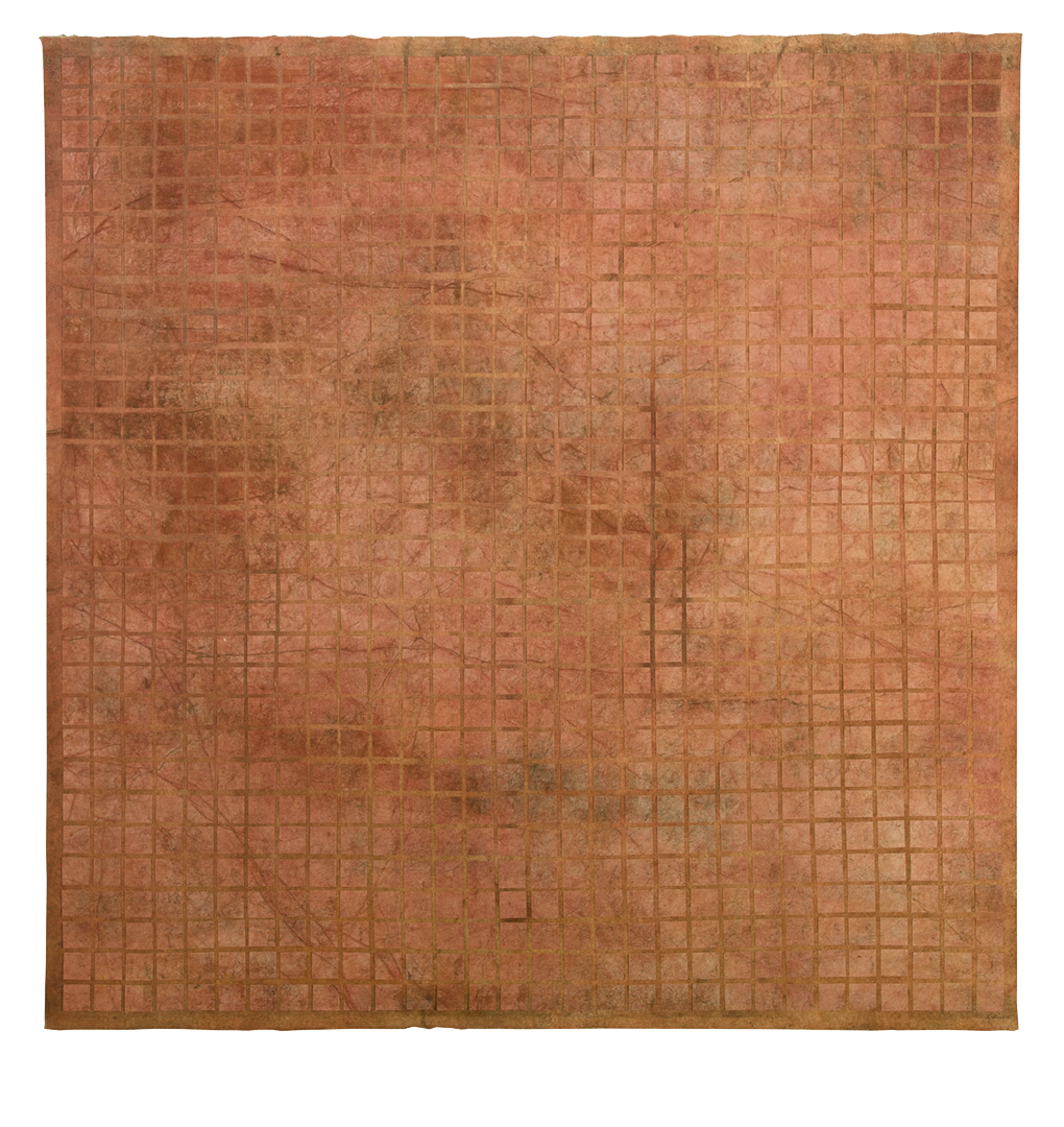 Untitled  ( Traces ), ochre pigments, copper oxide, sea water on mulberry paper on canvas, 3'x3'