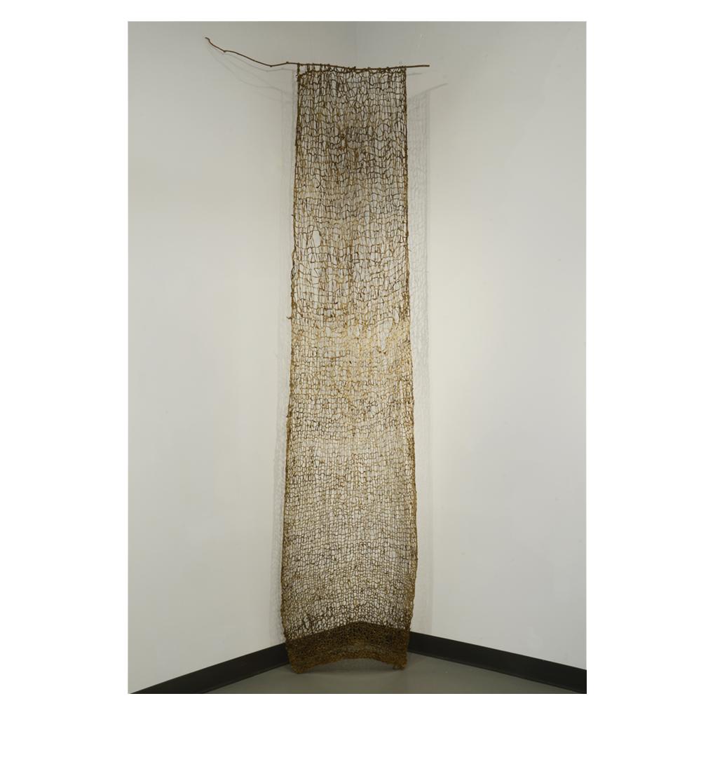 "Indra's Net , 120"" x 28"", raw silk, soil, earth pigments, organic materials, sea water"