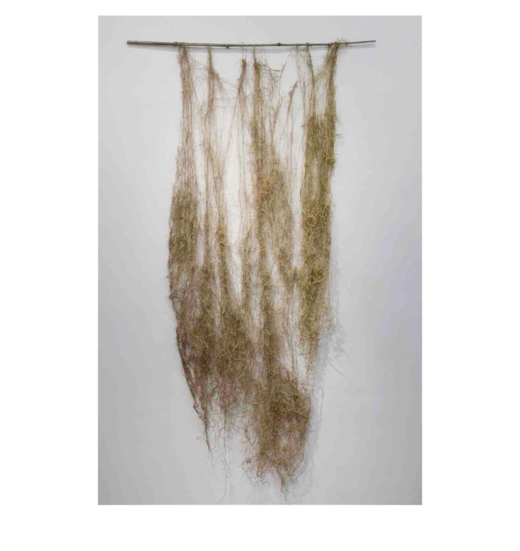 """Story Lines , 74"""" x 22"""", nettle fiber, sea water"""