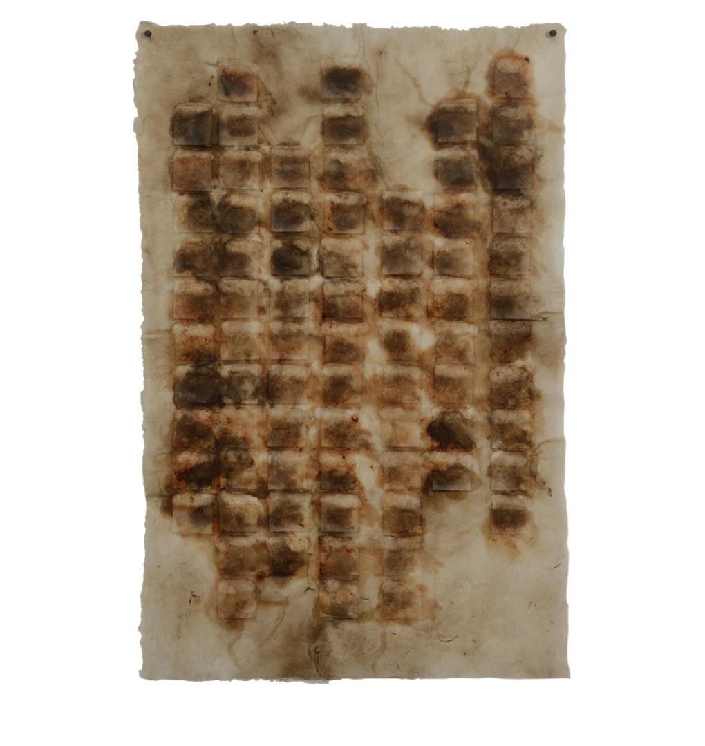 """Integral 1,  16.5"""" x 11"""", kakishibu, walnut ink, beeswax"""