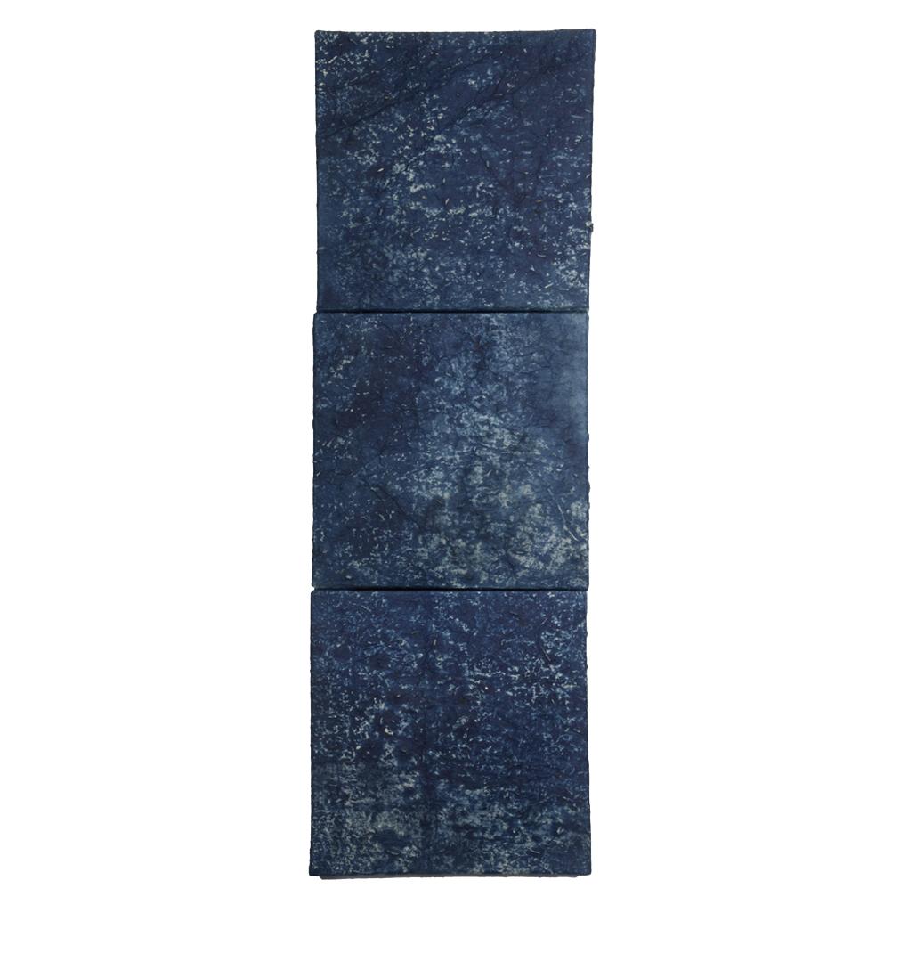 """Indigo: Alchemy of Spirit and Sorrow,  30"""" x 10"""", indigo dye, indigo pigment"""