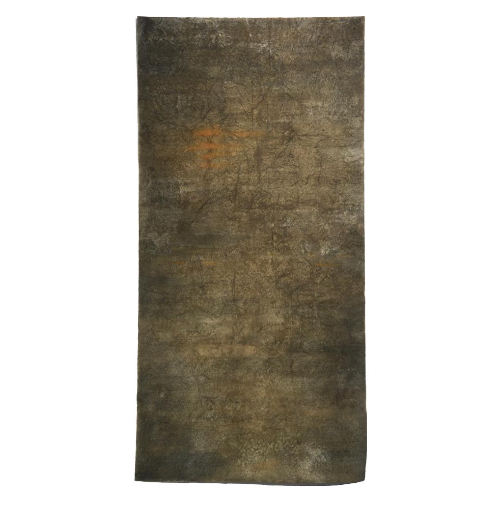 "Soil Sutra,  72"" x 36"", soil, indigo and ochre pigment, sea water"