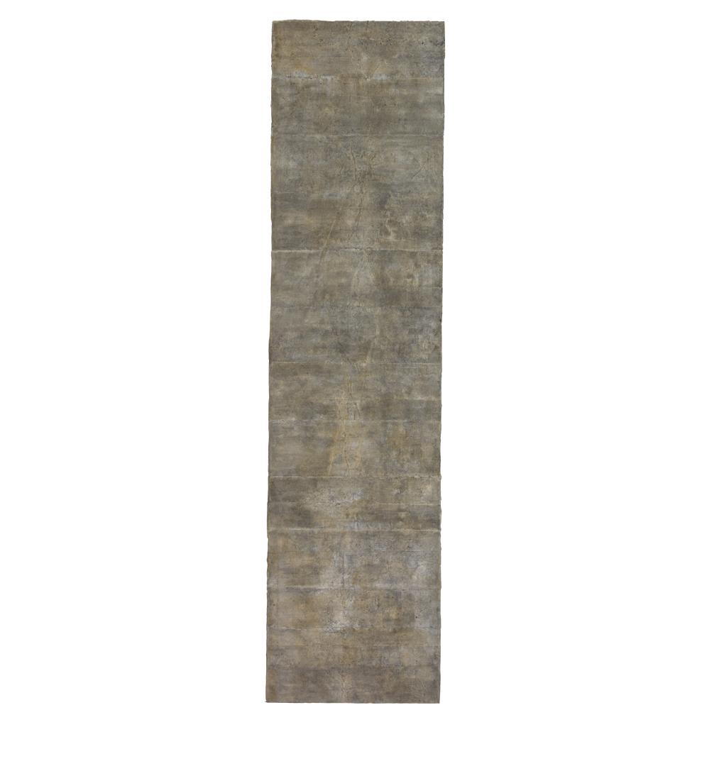 "Confine 8 , earth and plant pigments, indigo, soil, & sea water on paper, 18"" x 36"", 2018"