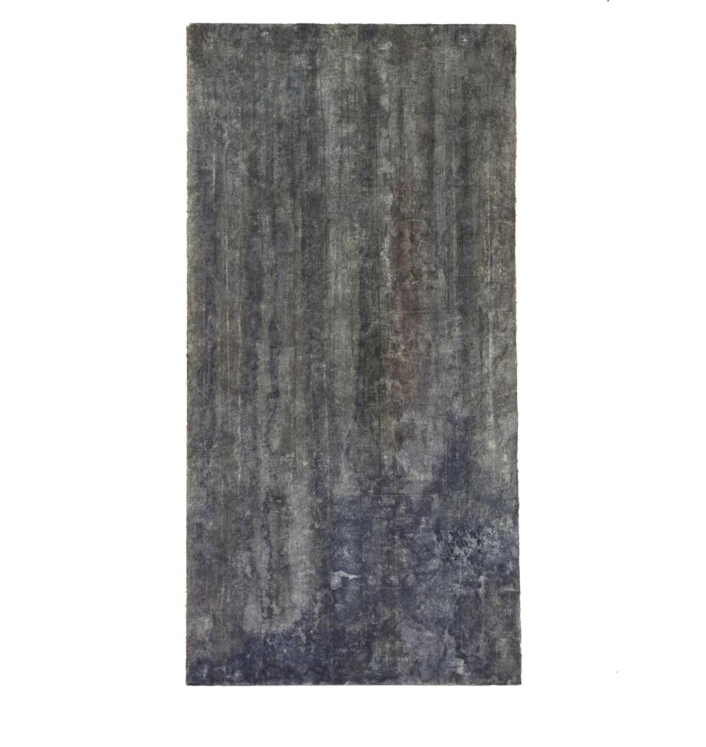 "Confine 4 , earth and plant pigments, indigo, soil, & sea water on paper, 18"" x 36"", 2018"