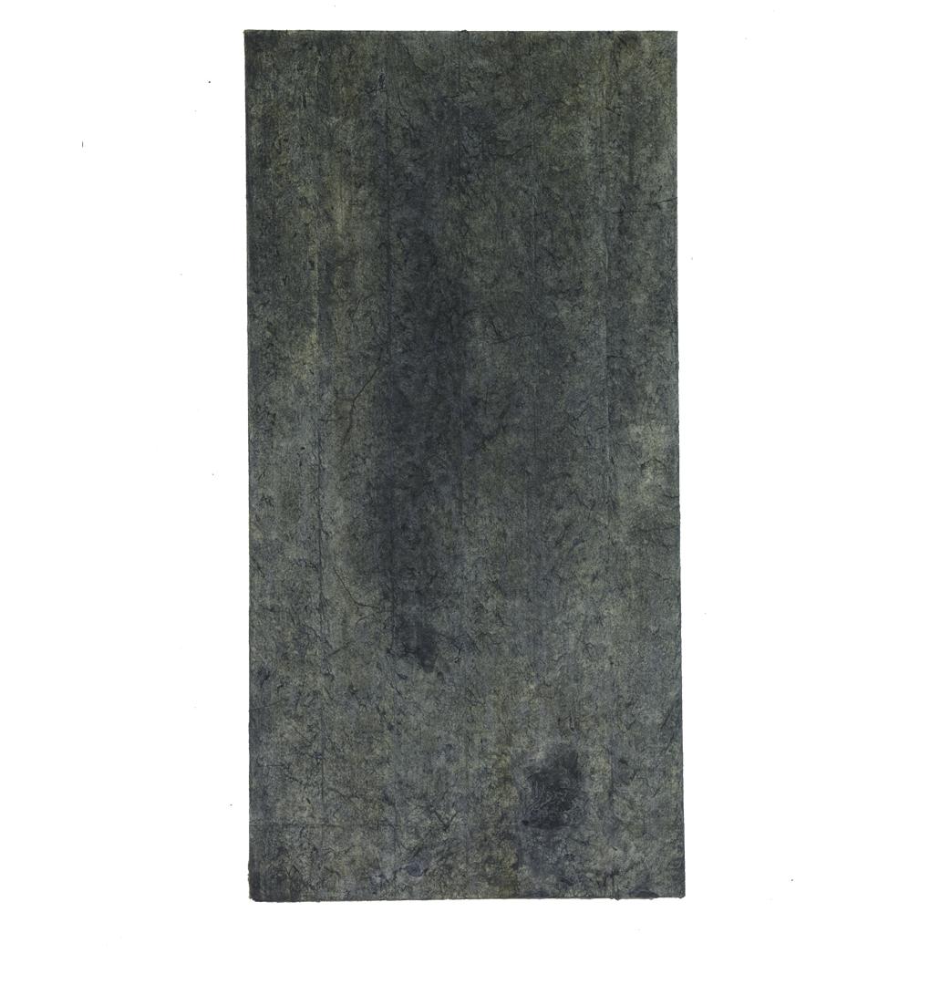 "Confine 5 , earth and plant pigments, indigo, soil, & sea water on paper, 18"" x 36"", 2018"