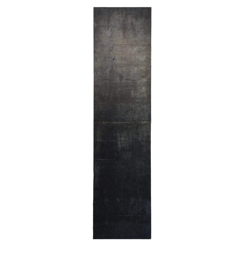 "Confine 3 , earth and plant pigments, indigo, soil, & sea water, on paper, 18"" x 72"", 2018"