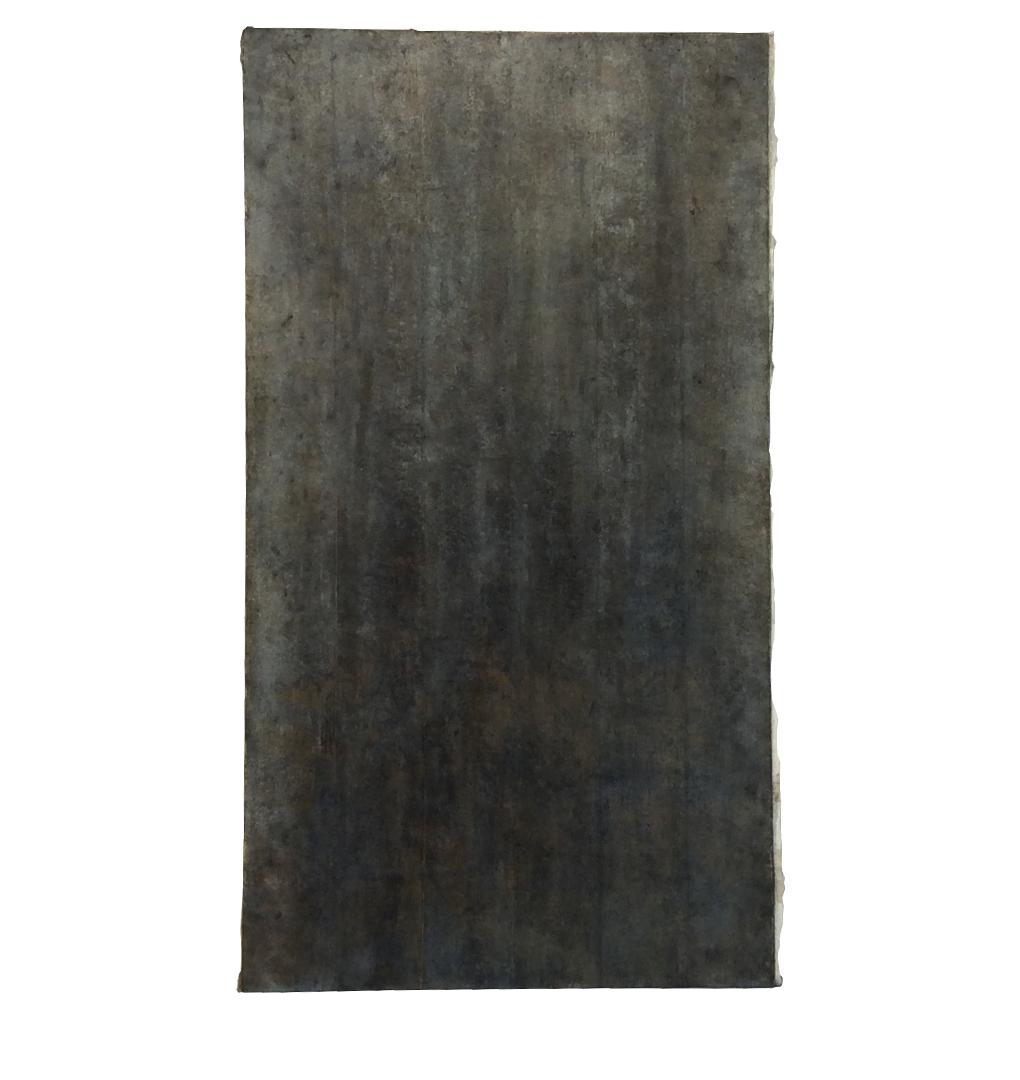 "Confine 6 , earth and plant pigments, indigo, soil, & sea water on paper, 18"" x 36"", 2018"