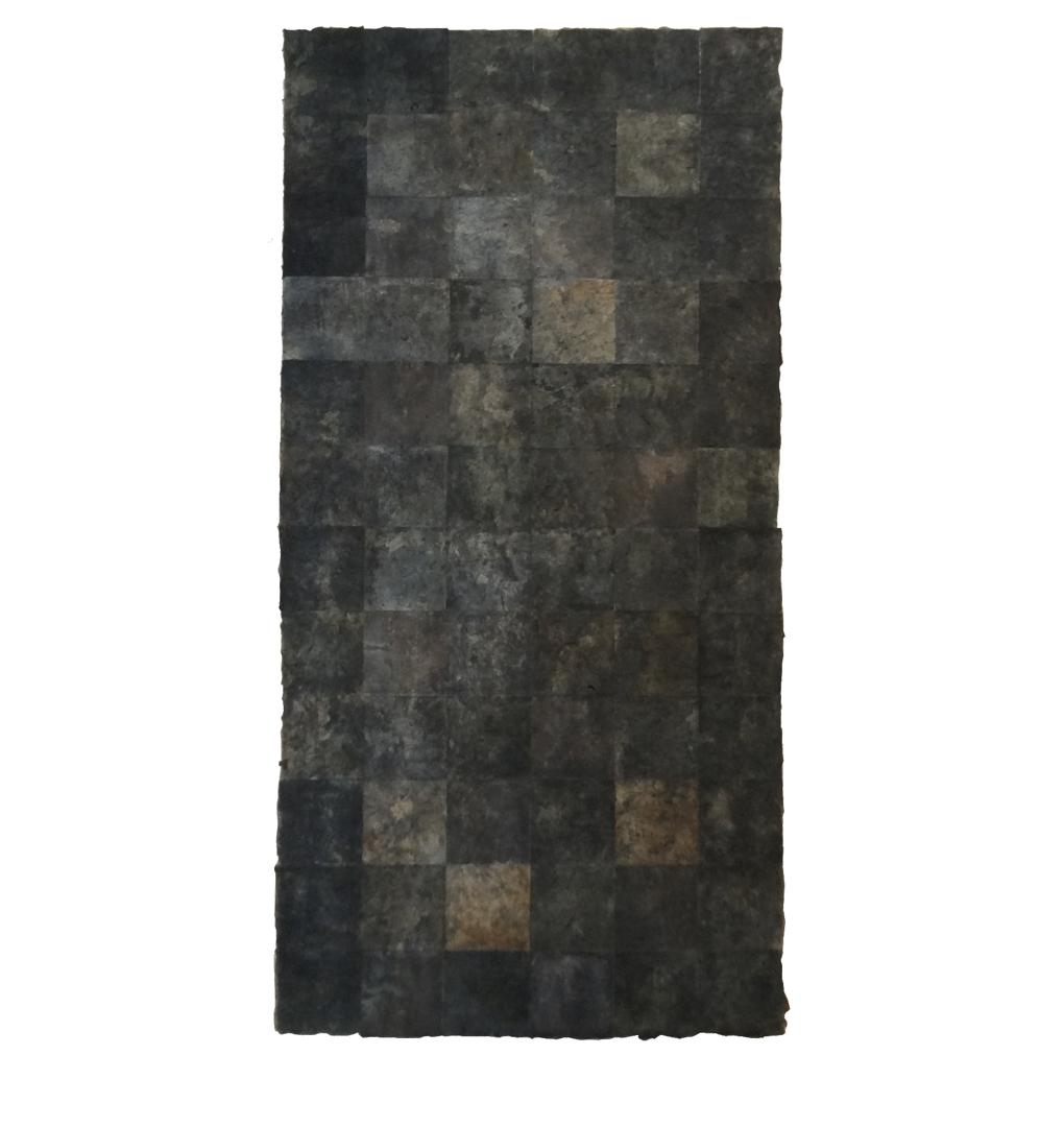 "Confine 9 , earth and plant pigments, indigo, soil, & sea water on paper, 18"" x 36"", 2018"