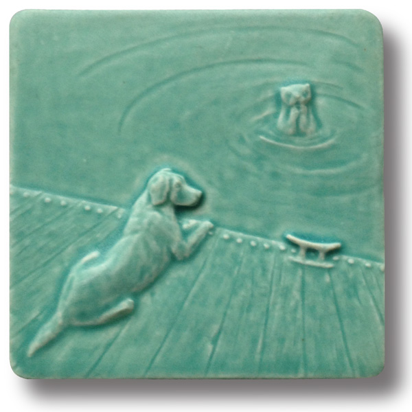 Dog with otter 4x4 art tile