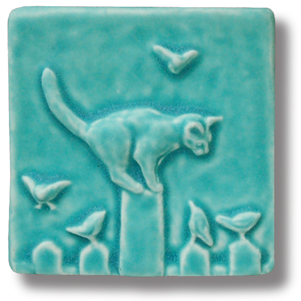 Cat on fence 4x4 art tile