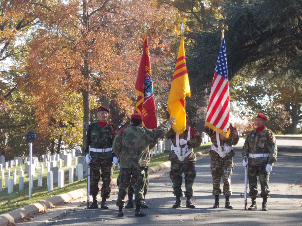South Vietnamese Airborne Division veterans at Arlington National Cemetery to commemorate the dedication of the Vietnamese Airborne memorial plaque.
