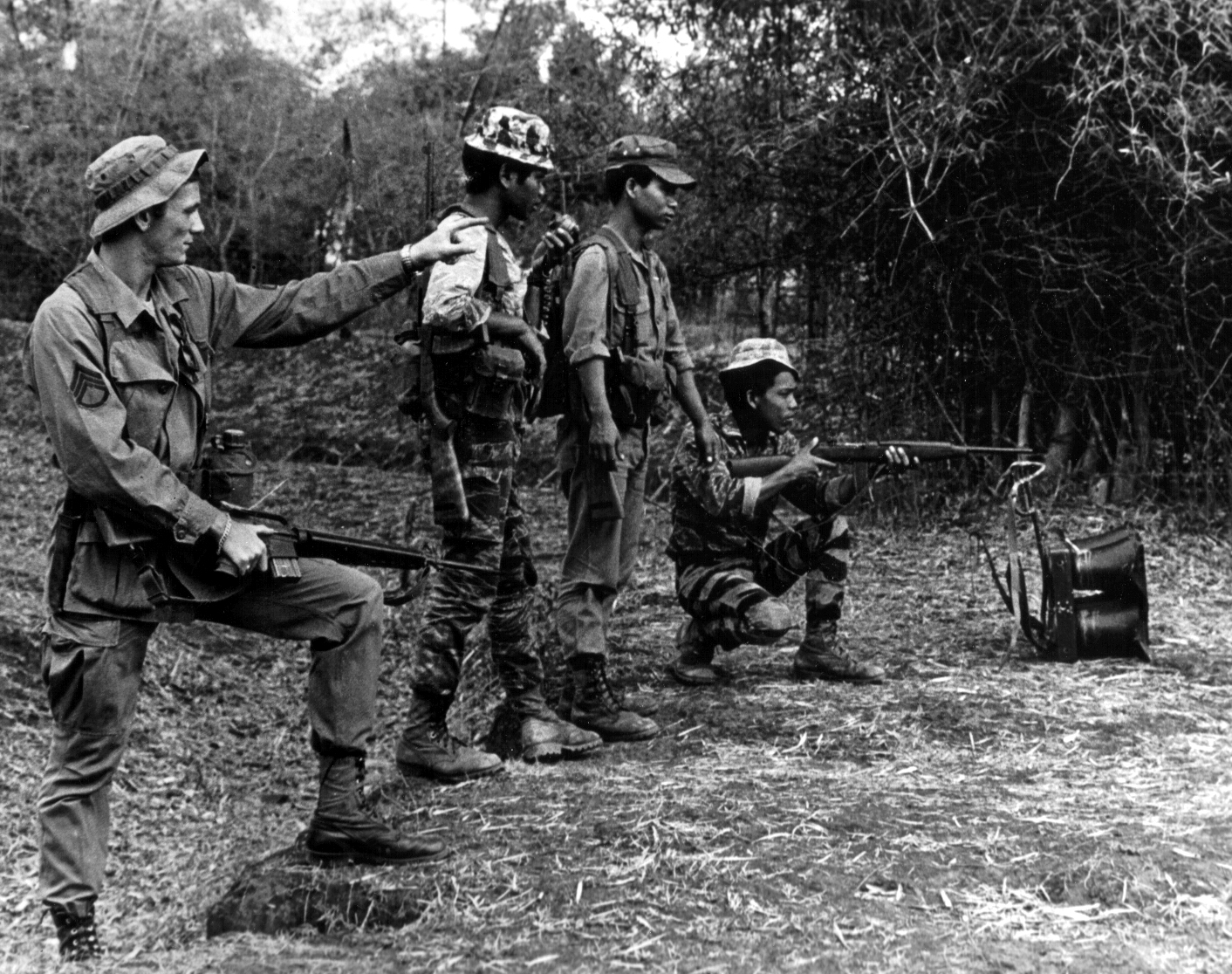 Degar soldiers training with US Army Rangers, 1966.