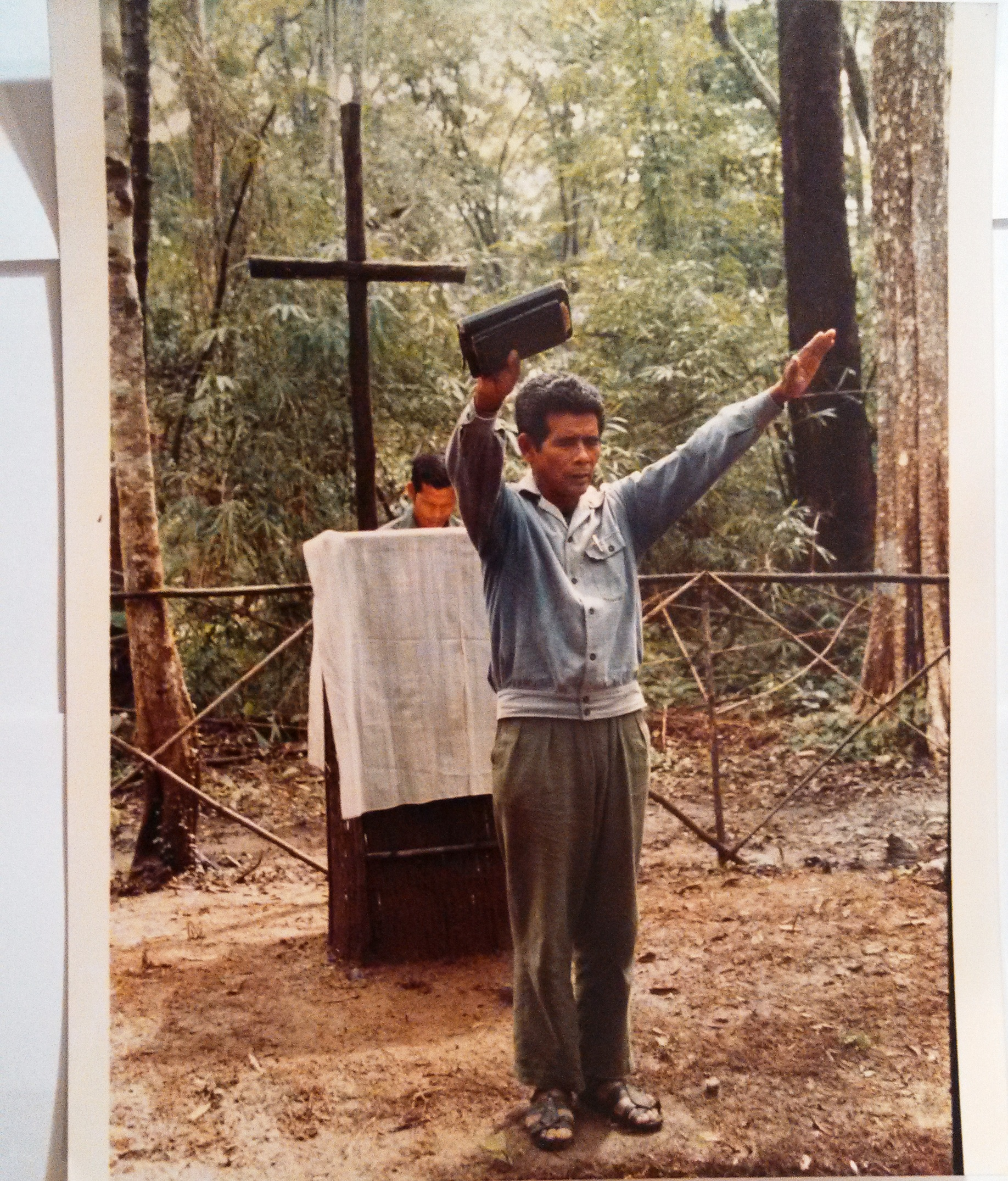FULRO Catholic priest conducting services, 1992. (Credit to Nate Thayer)