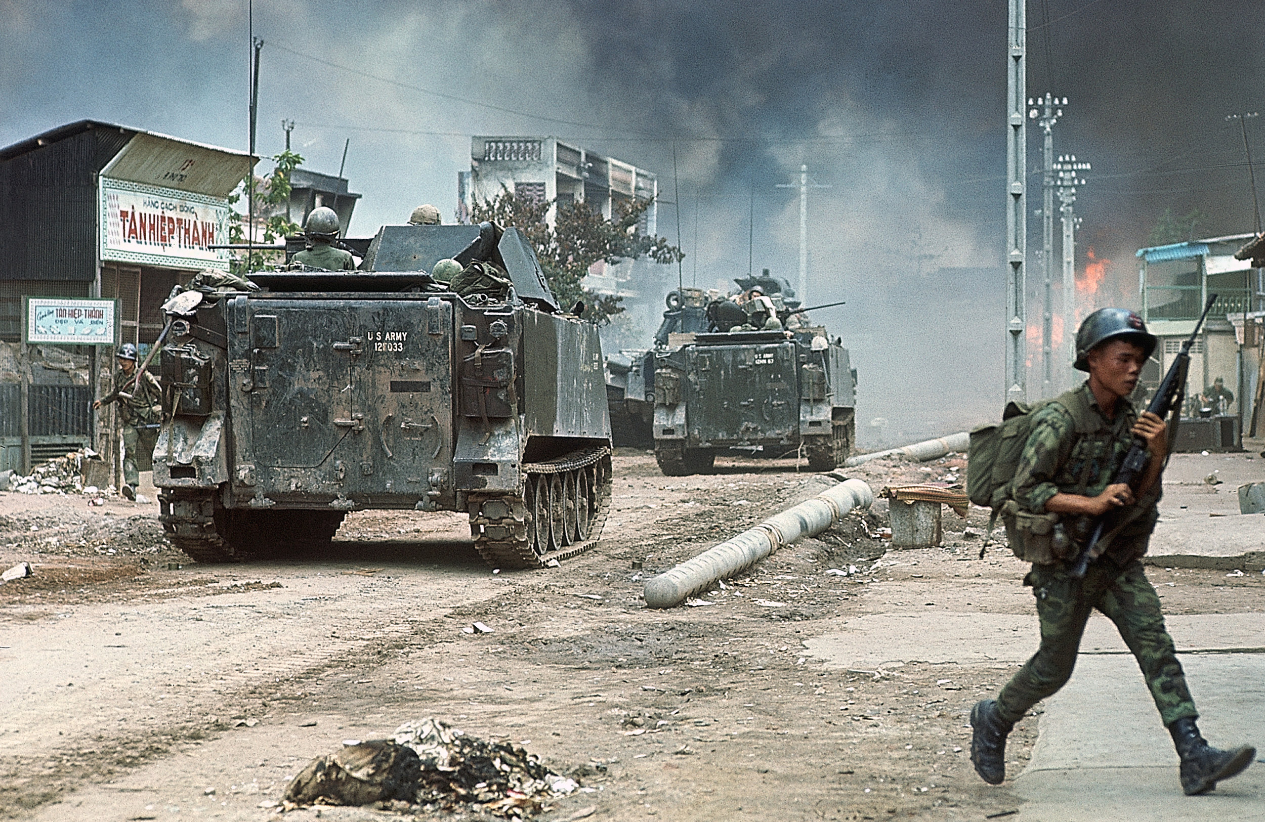Saigon saw its fair share of fighting during the war, most notably during the 1968 Tet Offensive. Here, ARVN M113 APCs are clearing streets in the Cholon district of Saigon.