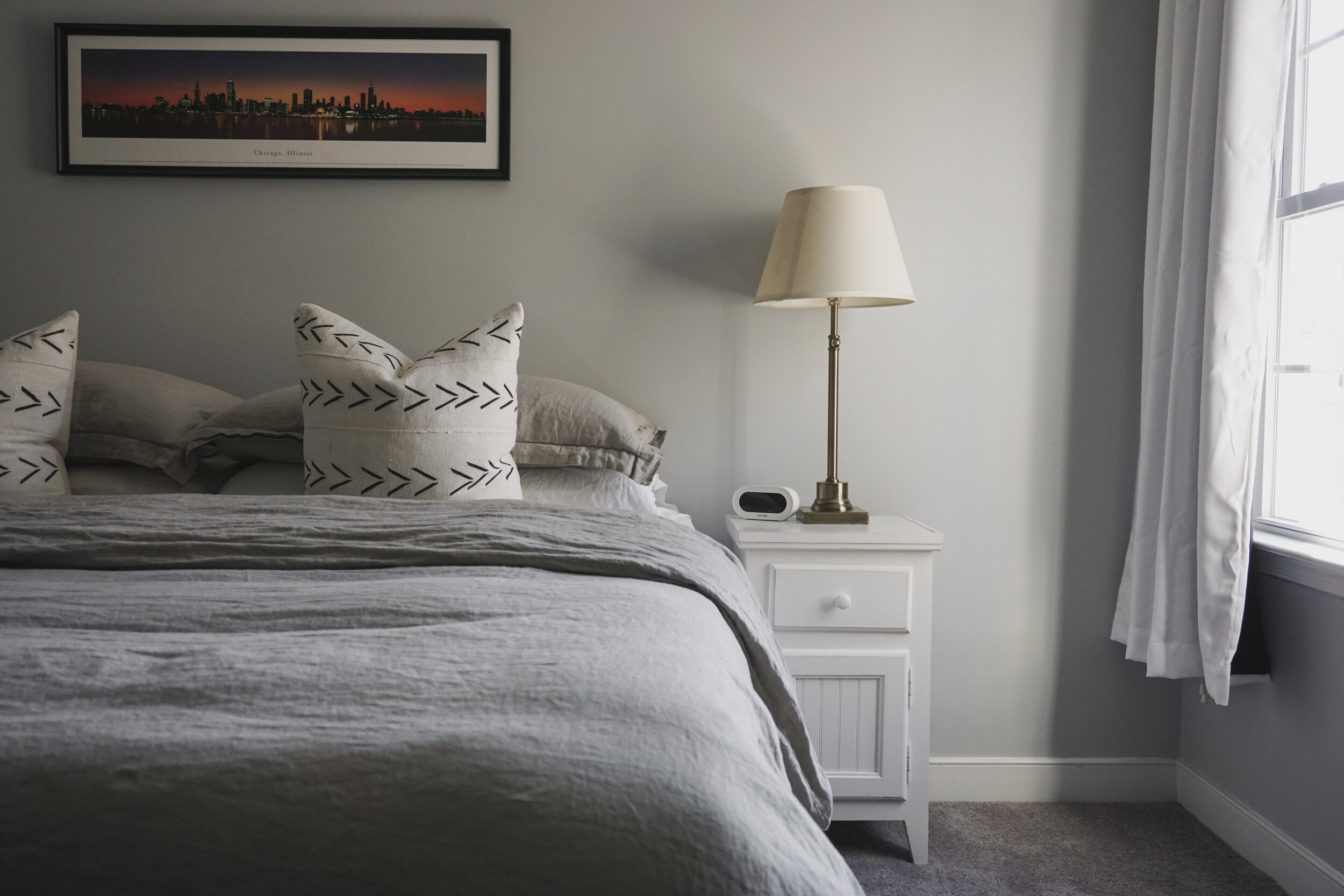 Eventually, I'd like to update the nightstands and art above the bed and add a woven throw.