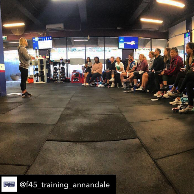 Spent the morning talking about the importance of post training nutrition @f45_training_annandale 🥑🥑 If you're not thinking about what you're eating post session you're missing out on getting 100% of the benefits from your training.  Thanks to @chobaniau for providing delicious yoghurts!  Take away messages = 1. Have a balanced snack or meal post session.  2. Balance those carbohydrates, proteins and fats for stable blood sugar & positive training adaptations!!! 👊🏻💪🏻 3. Hydration is part of recovery.