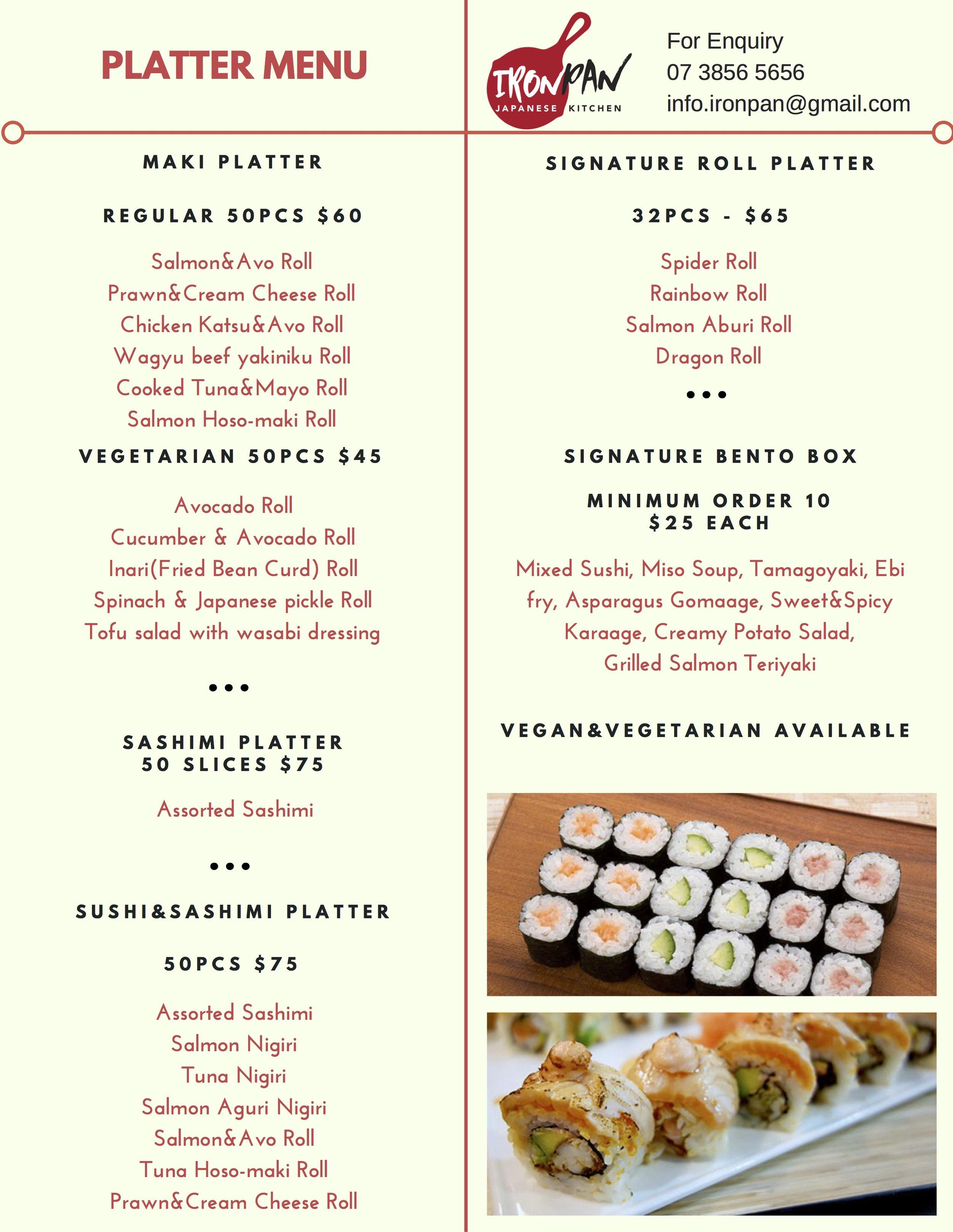Platter menu