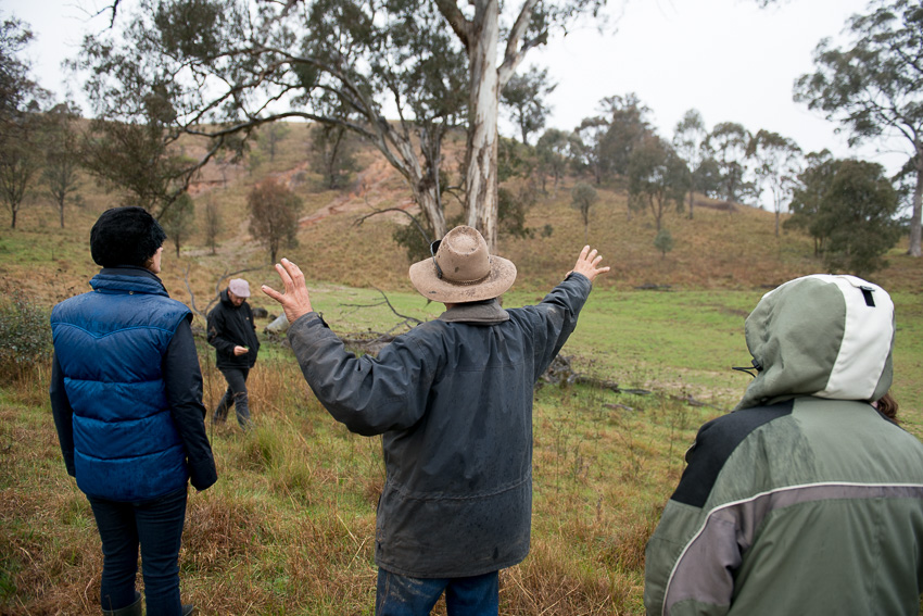 Stuart showing us his site for the hemp crop, at the base of an eroded hillside.