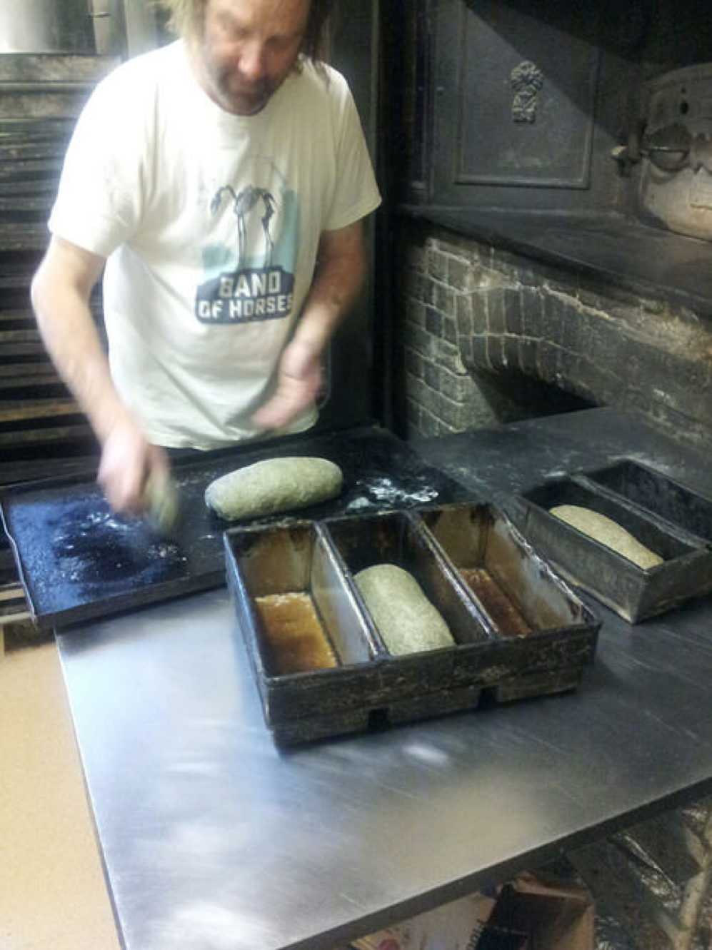 Dave Standfield prepares some hemp seed enriched loaves at the Rylstone bakery.