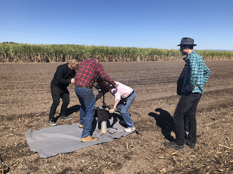 Allan Yeomans and his assistant Darren collecting a soil sample from Robert Quirk's sugarcane farm in the Tweed region of Northern NSW. Robert was the winner of 2014  Carbon Farmer of the Year .