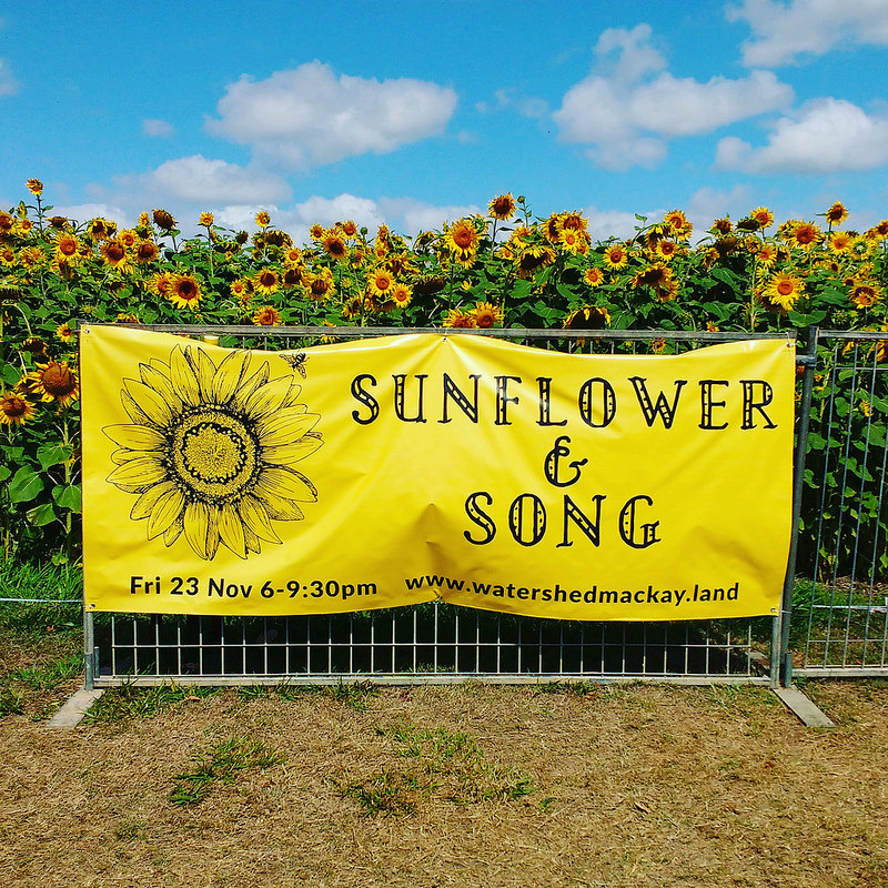 Sunflower and Song Banner displayed at The Beacon in the lead up to the event