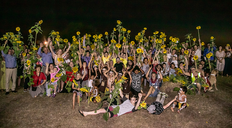 A group photo of the Sunflowers and their Humans