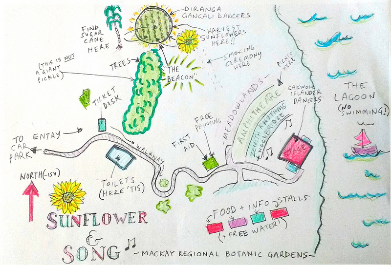 Sunflower and Song – site map (colouring-in by Albie May)