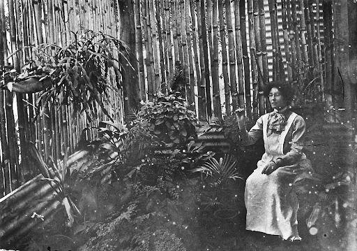 Florence Reid in a bamboo bush-house at Bainagowan Station, ca. 1900. Sourced from the   enclos*ure blog