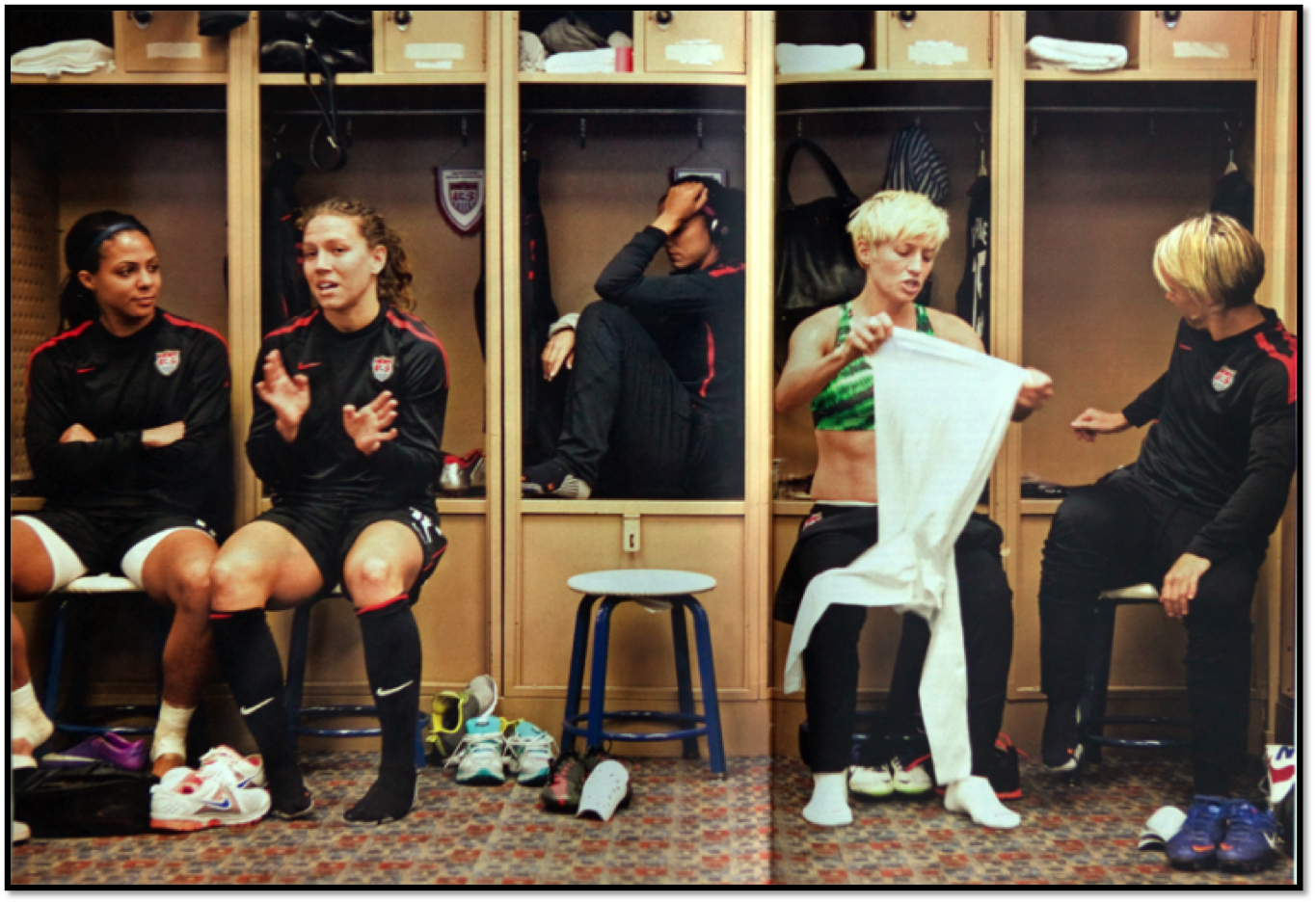 Alex Morgan and Megan Rapinoe - two of the best - with two seemingly different approaches to checking-in.