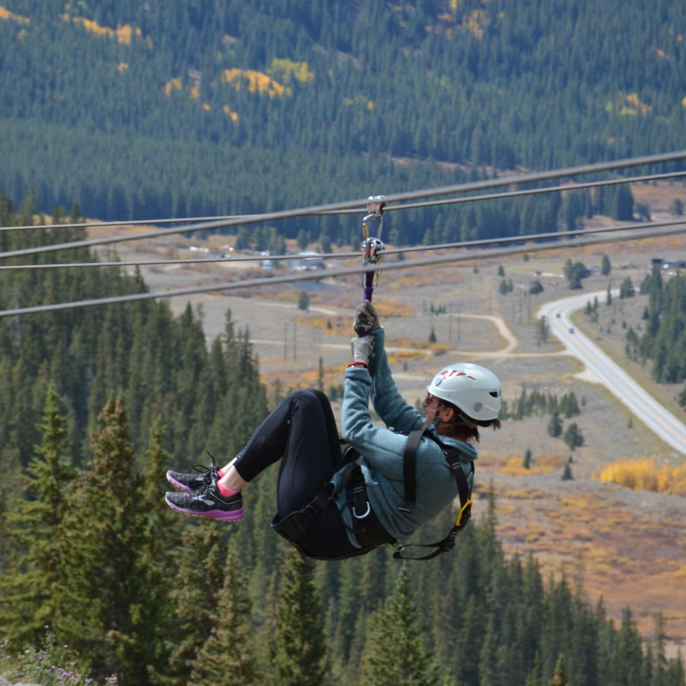 Melissa braved new heights and zip lined in the mountains of Vail!
