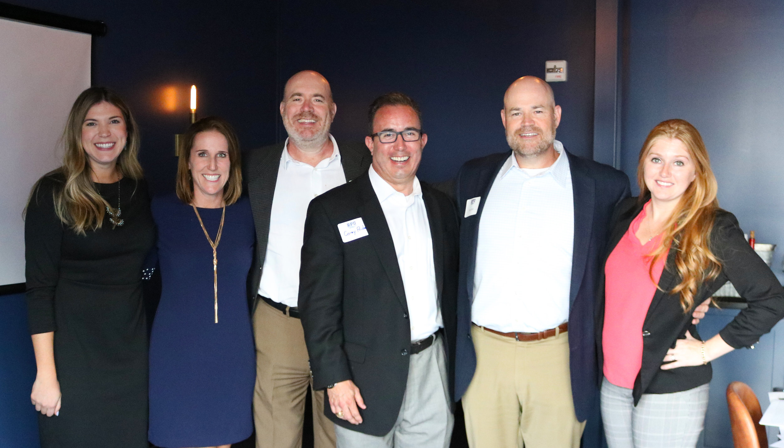 From L to R: Maggie Robinson and Melissa Terito with Sentinel, Bill Bush (Horizon), Corey Pride (J.P. Morgan), Andy Bush and Rachel Stewart with Horizon Financial Group