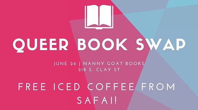 TONIGHT!! From 6-9! Finish up Pride Month with a new queer book! Just bring a book (or two) you are willing to part with and swap with others! Plus, FREE iced coffee provided by @safaicoffeeshop!  Hosted by: @gayborhoodevents • • 🌈📚🌈 #pride #louisville #louisvilleky #louisvillelove #louisvillepride #nulu #books #bookstagram #queerbooks #lgbtbooks #pridebooks #bookobsessed #bookswap