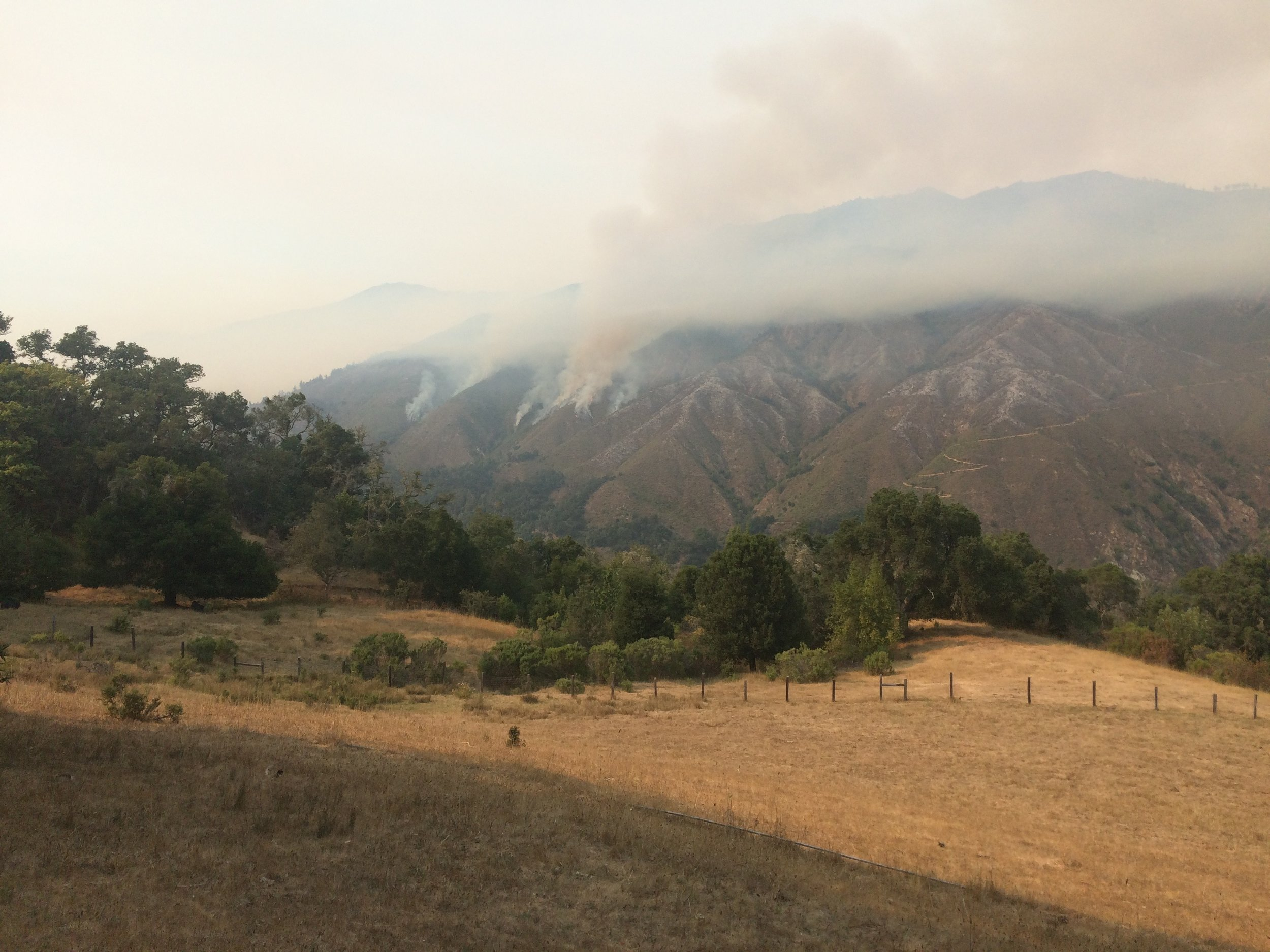 the view from our Big Sur house during the Soberanes Fire of 2016