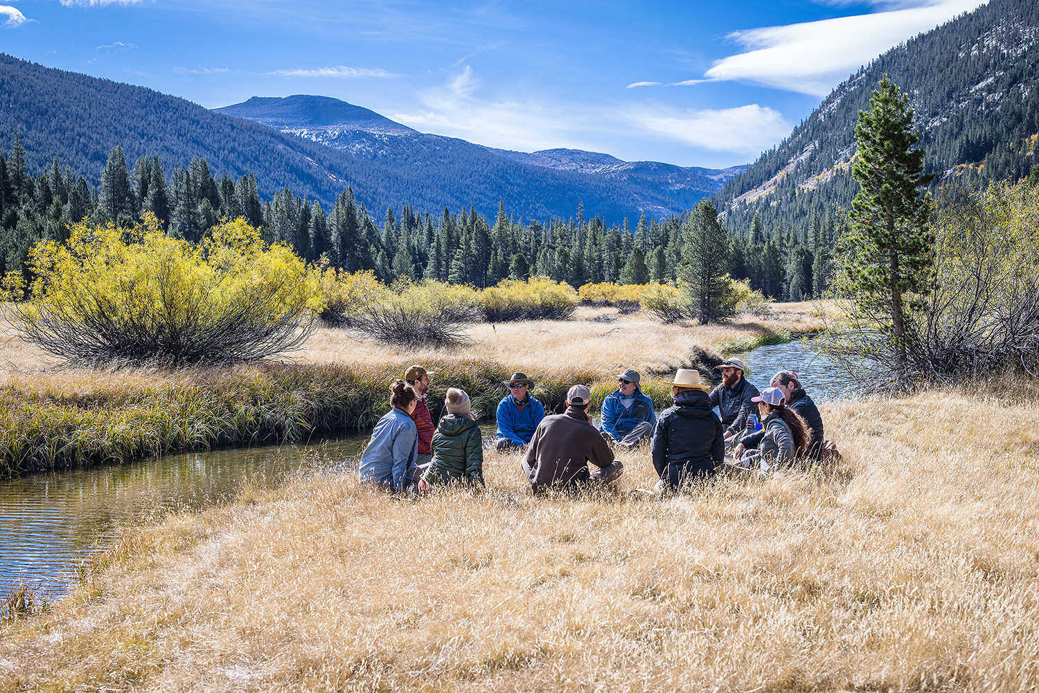 our Yosemite group having a check-in and awareness practice in Toulumne Meadows. Photo by Yosemite photographer-in-residence  Ian Momsen .