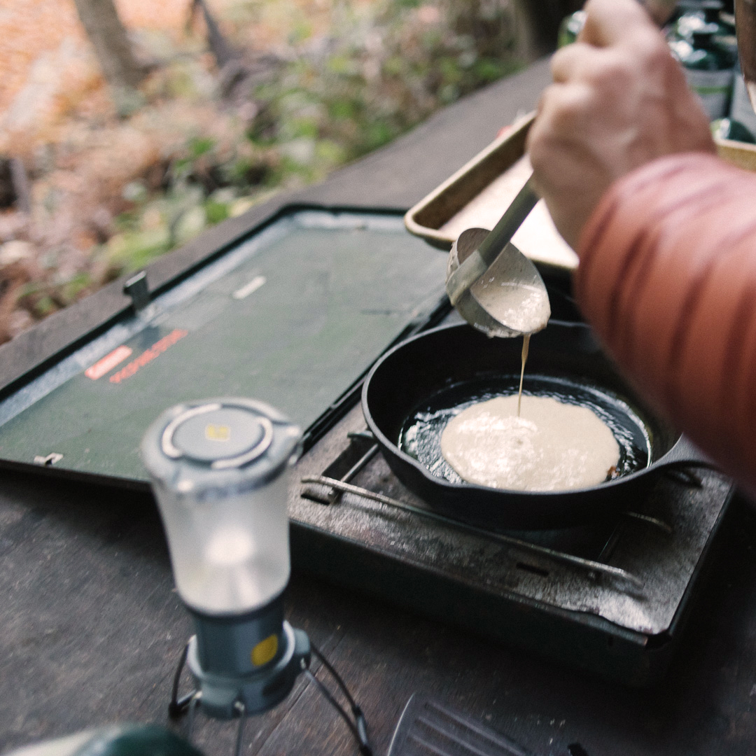 What could be finer than acorn pancakes in the redwoods at dawn?