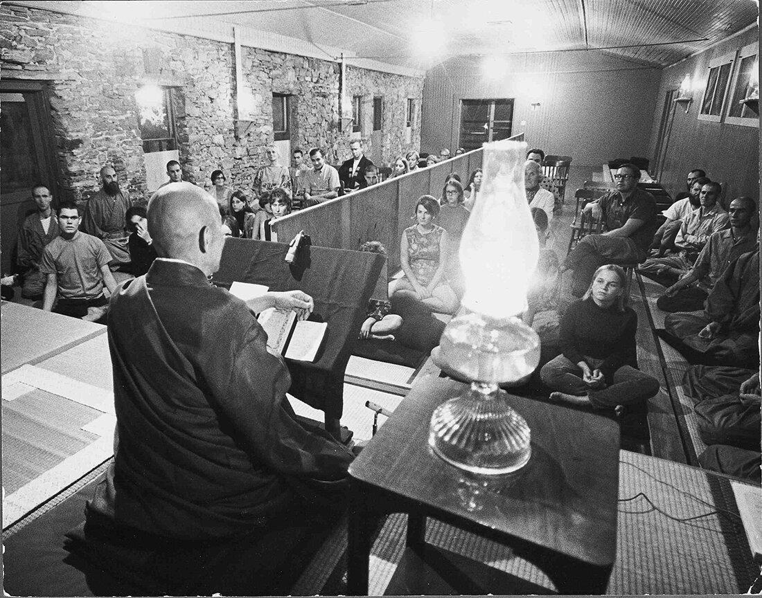 Tassajara's founder Suzuki Roshi lecturing in the original Zendo (c. 1968)