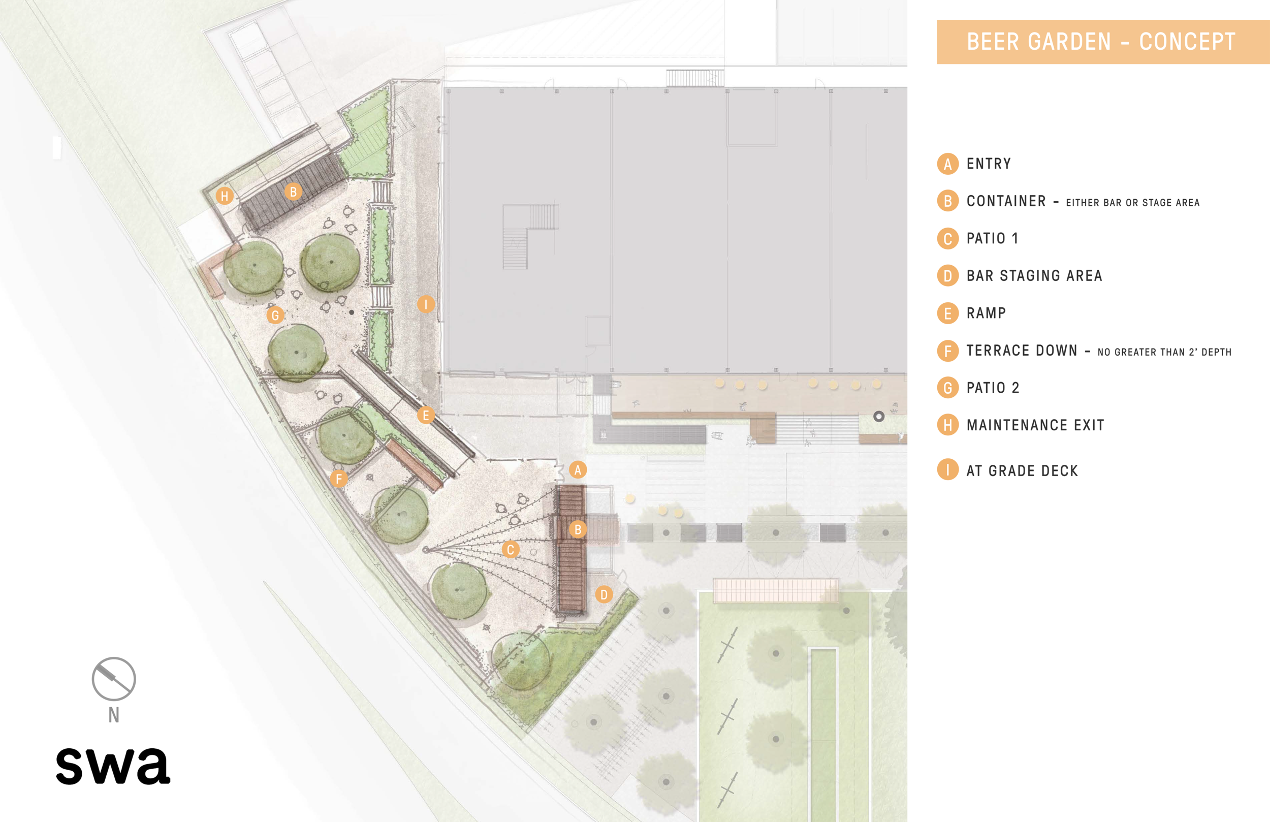Beer GArden - Adjacent to the market is a 13,000 SF beer garden featuring 80 beers on tap, a dog park bar, stage, and plenty of outdoor seating.