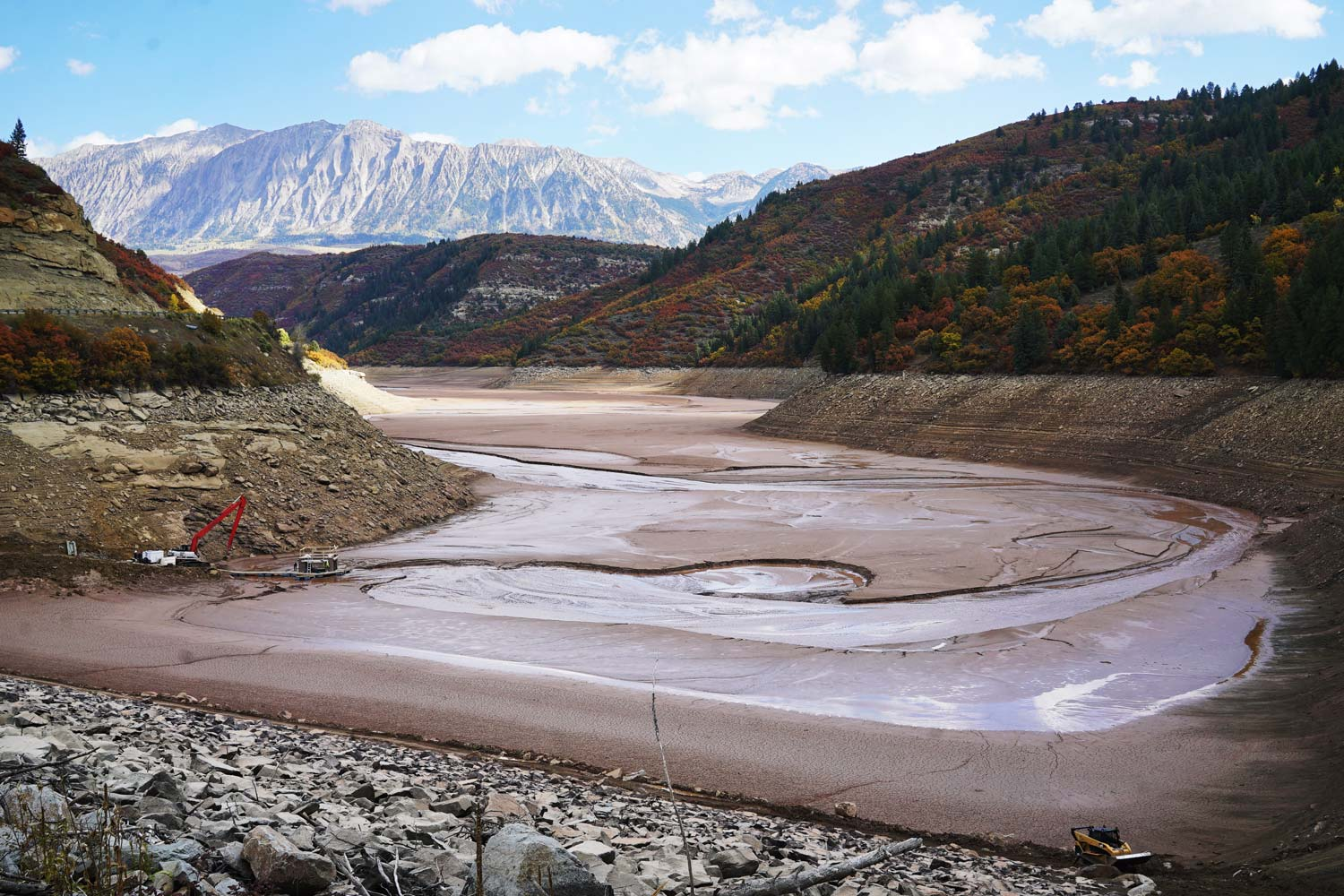 At the Paonia Dam, years of mud and debris have built up, creating a thick clay that is filling up the reservoir. [Courtesy image]