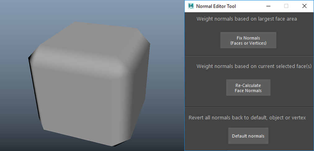 A cube which has had its normals fixed by the Normal Editor Tool Normal Editor Tool interface
