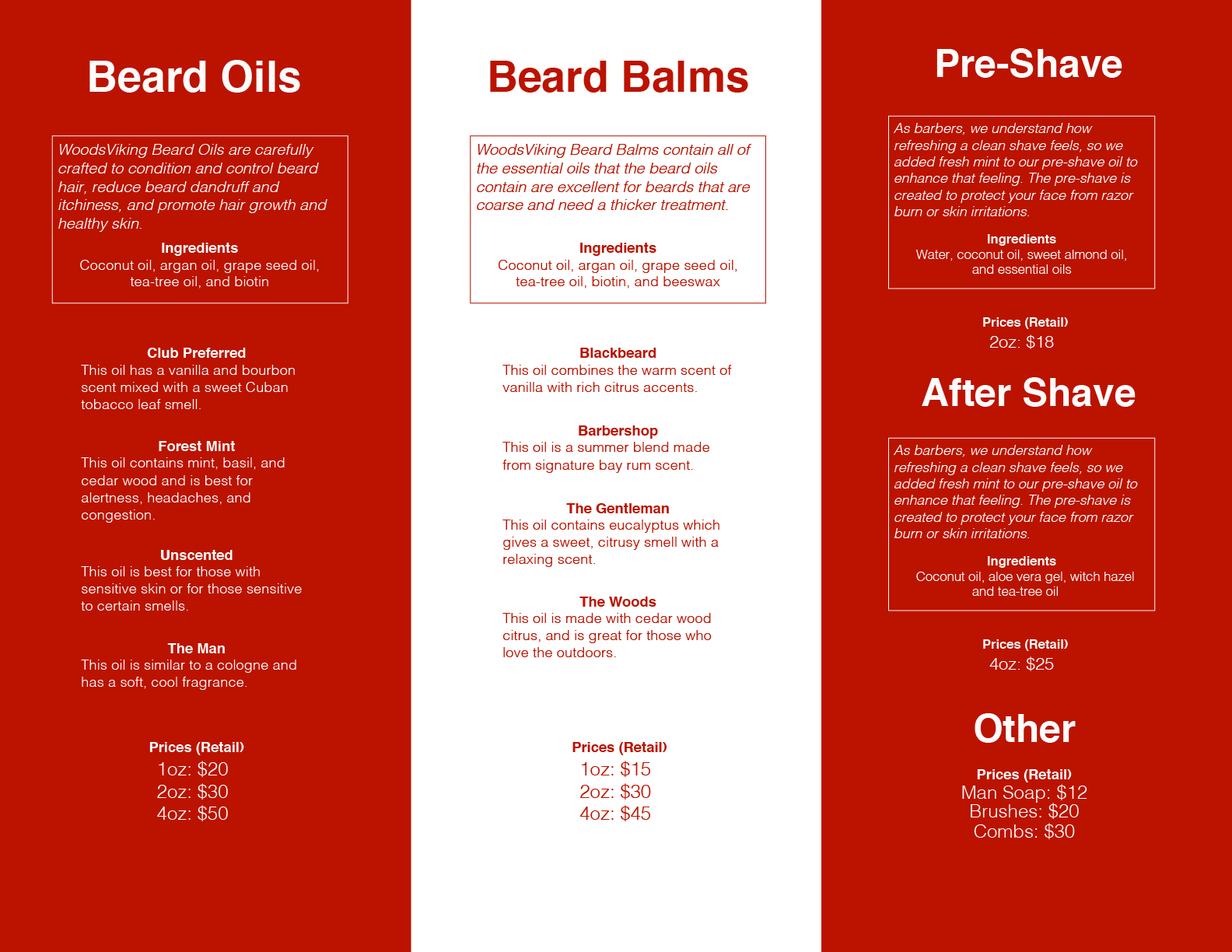 Editorial. - I created a layout for a brochure to showcase WoodsViking products, services, and information.