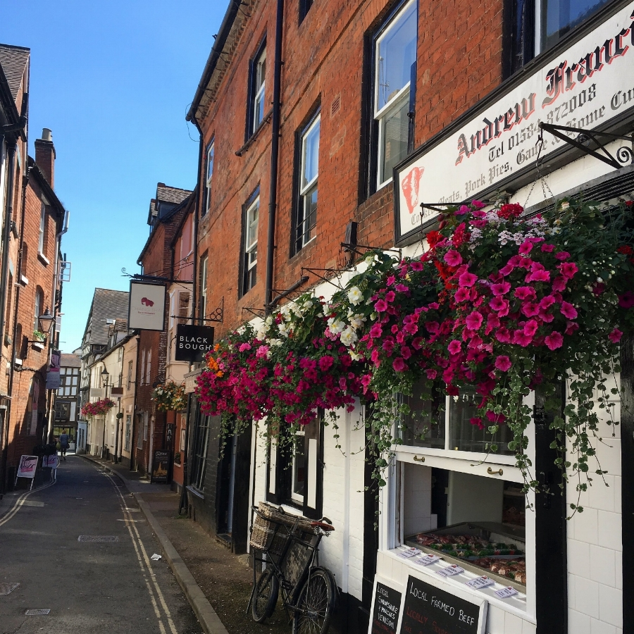 Bloomin' marvellous: hanging baskets outside local butchers, Andrew Francis