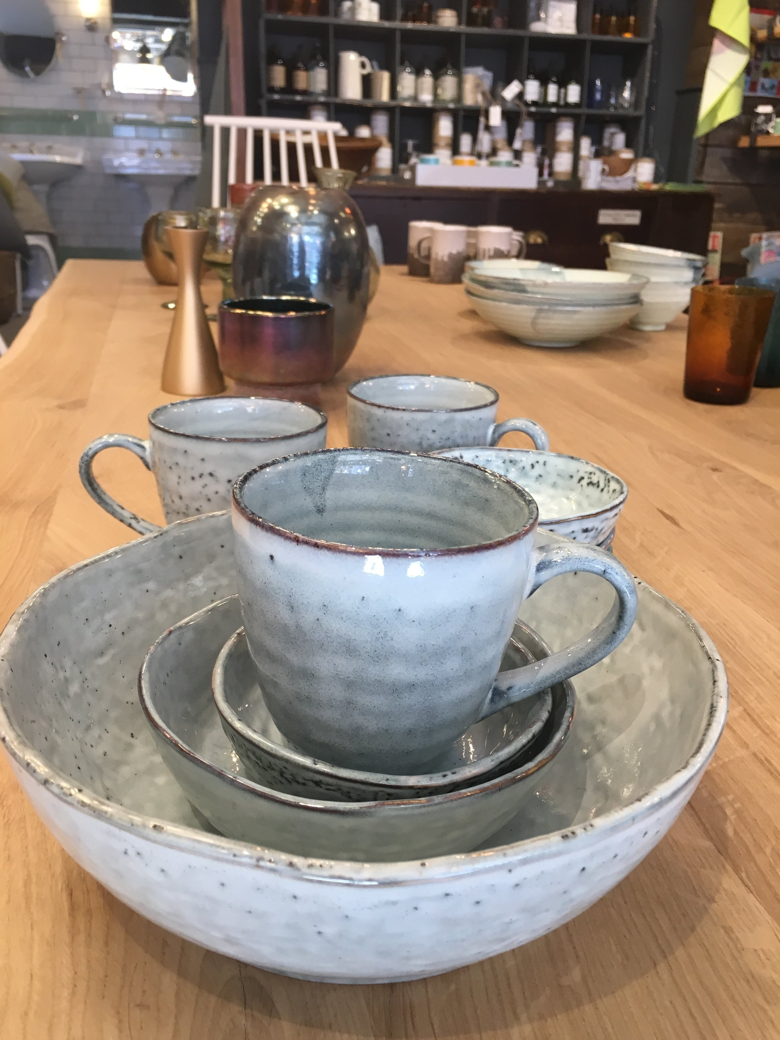 Holloways Period Shop - Change up your housewares with these pottery beauties by House Doctors in Danish GreyLarge bowl £21; medium £6; small £4.50. Cups £6
