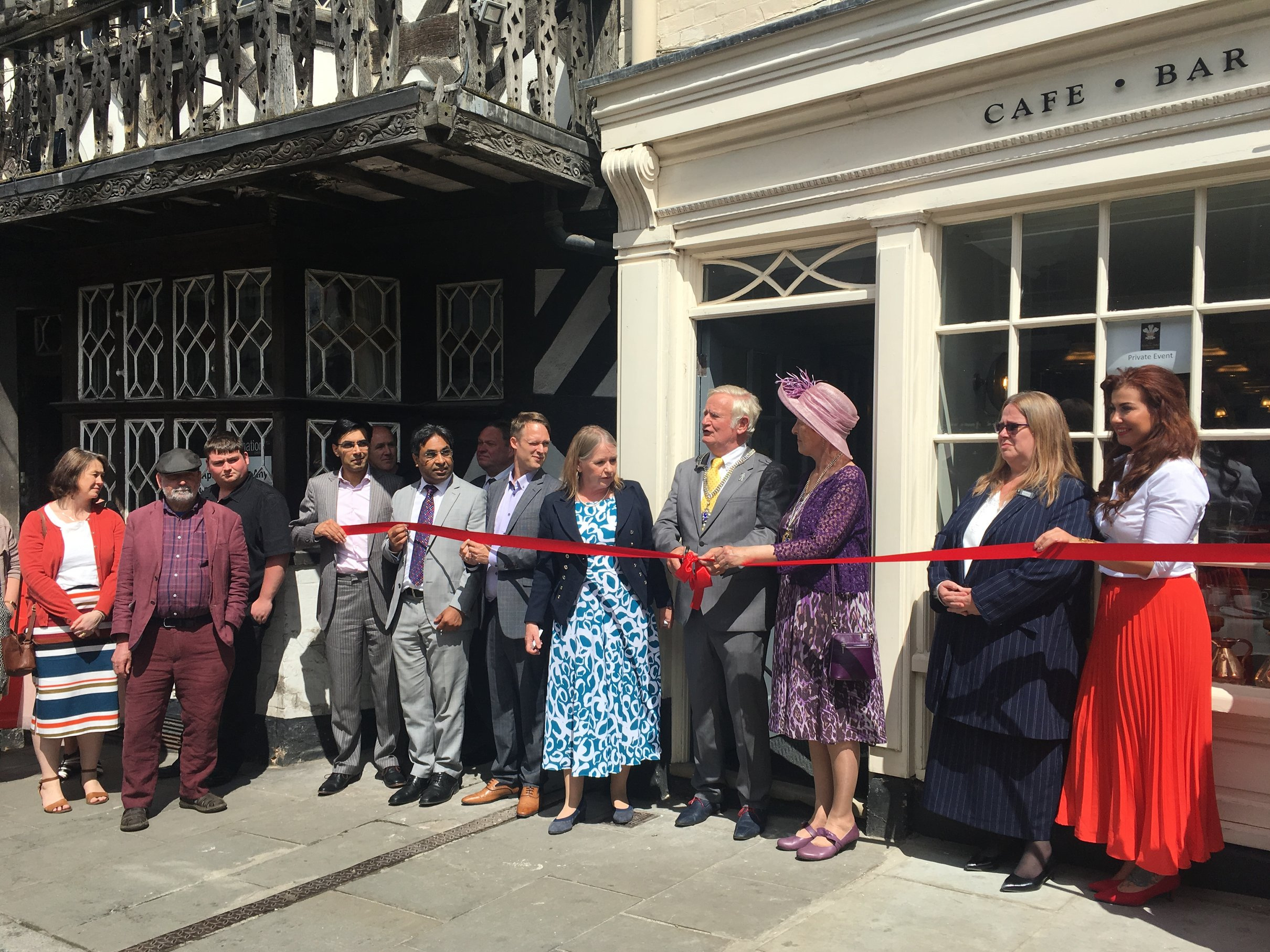 Ribbon cutting ceremony for The Feathers Hotel newly opened Tea Room