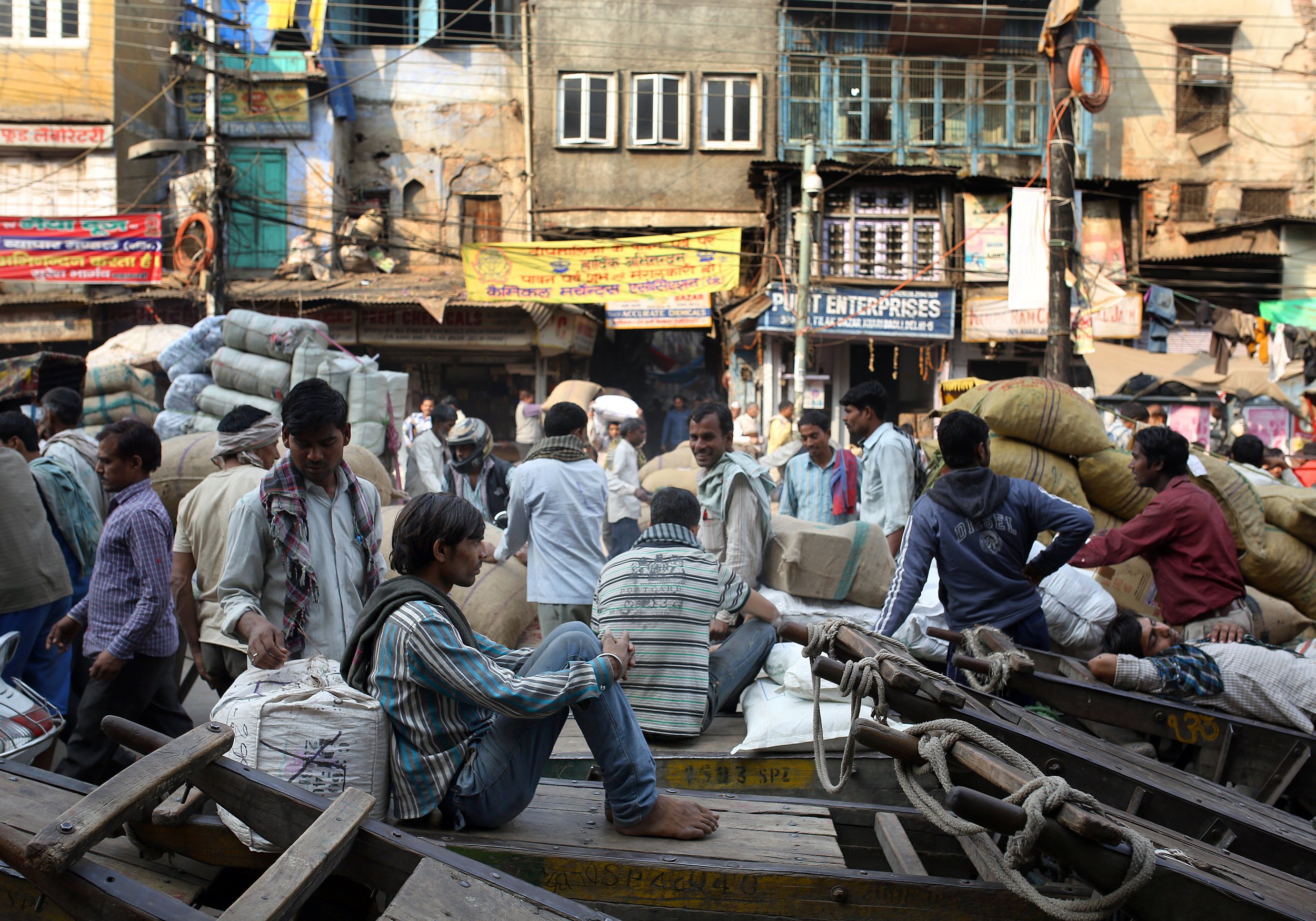 Market traders are pictured in the Spice Market region on Old Delhi, India.